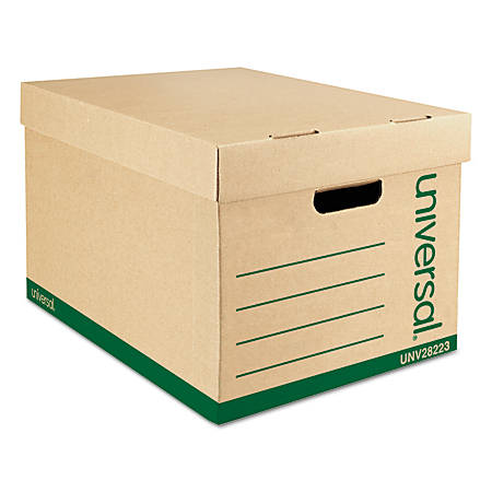 "Universal® Record Storage Boxes, Letter/Legal, 10""H x 12""W x 15""D, 100% Recycled, Kraft, Pack Of 12"