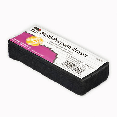 "Charles Leonard Multi-Purpose Dry-Erase & Chalkboard Erasers, 5"", Black, Case Of 24"
