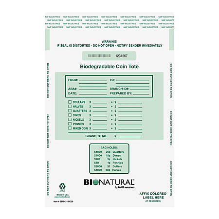 """MMF Industries Biodegradable Security Coin Totes, 12"""" x 21"""", Clear, Pack Of 50"""