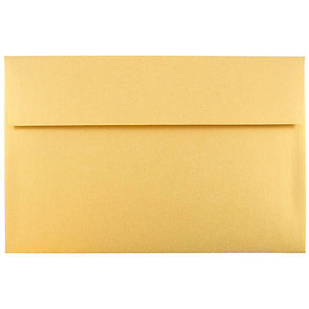 "JAM Paper® Booklet Invitation Envelopes, A10, 6"" x 9 1/2"", Gold Stardream Metallic, Pack Of 25"