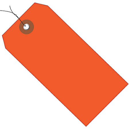 """Office Depot® Brand Prewired Plastic Shipping Tags, 4 3/4"""" x 2 3/8"""", Orange, Case Of 100"""