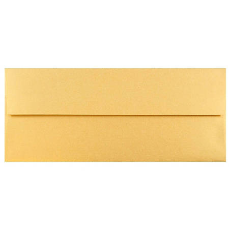 "JAM Paper® Booklet Envelopes With Gummed Closure, #10, 4 1/8"" x 9 1/2"", Gold Stardream Metallic, Pack Of 25"