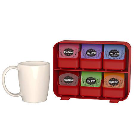 "Mind Reader Clutch 6-Drawer Tea Bag Holder, 7 5/8""H x 10 1/4""W x 3 3/16""D, Red"
