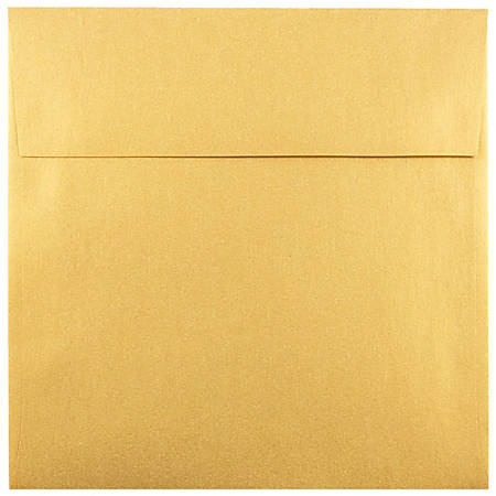 "JAM Paper® Square Stardream Metallic Envelopes, 6"" x 6"", Gold, Pack Of 25"