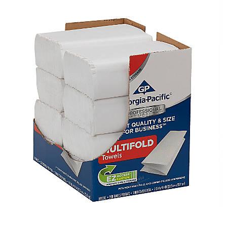 "Georgia-Pacific Professional Series™ Multi-Fold 1-Ply Paper Towels, 9-3/16"" x 9-3/8"", White, 250 Paper Towels Per Box, Case Of 8"