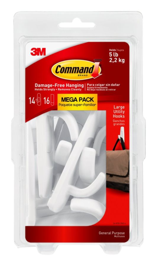 3M Command Mega Pack Utility Hooks Large White Pack Of 14 Hooks - Office Depot