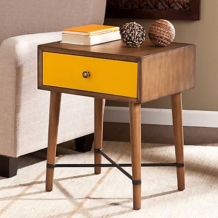 Southern Enterprises Norwich Accent Table, Square, Dusty Oak/Yellow