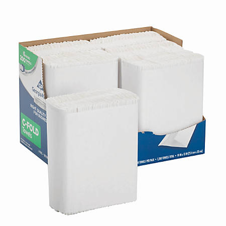 "Georgia-Pacific® by GP PRO Professional Series™ Convenience Pack 1-Ply Premium C-Fold Paper Towels, 10"" x 13"", White, 200 Sheets Per Pack, Case Of 6 Packs"