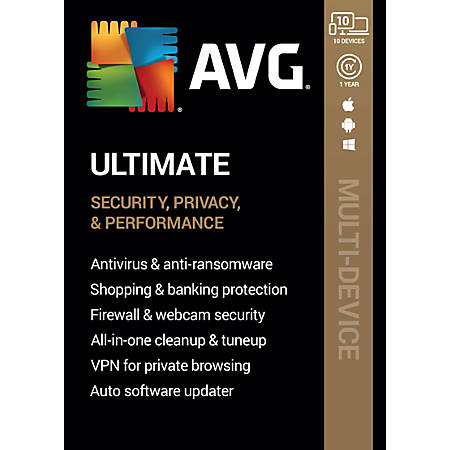 AVG Ultimate Software, For 10 Devices, 1-Year Subscription, For PC/Mac, Traditional Disc
