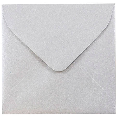 "JAM Paper® Square Stardream Metallic Envelopes, 3 1/8"" x 3 1/8"", Silver, Pack Of 25"