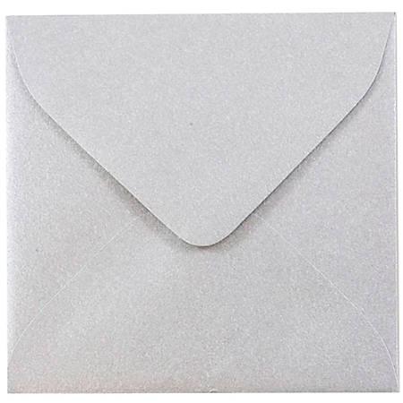 "JAM Paper® Square Stardream Metallic Envelopes, 3 1/8"" x 3 1/8"", Silver, Pack Of 25"