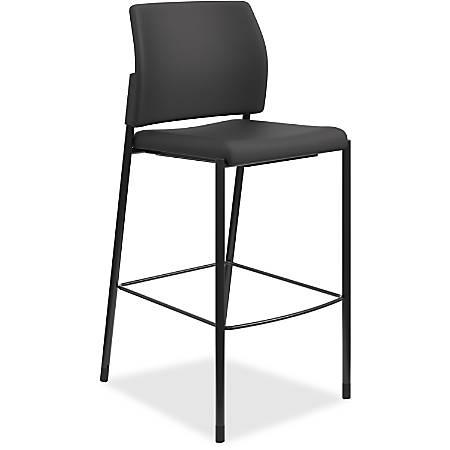 "HON Accommodate Cafe Stool, Armless - Fabric Black Seat - Fabric Black Back - Steel Textured Black Frame - Four-legged Base - 23.3"" Width x 21.3"" Depth x 31.4"" Height"