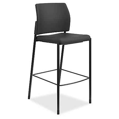 "HON Accommodate Cafe Stool, Armless - Fabric Black Seat - Fabric Black Back - Steel Textured Black Frame - Four-legged Base - 23.3"" Width x 21.3"" Depth x 31.4"" Height"