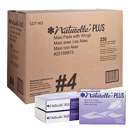 Rochester Midland Naturelle Maxi Pads With Wings, Carton Of 250