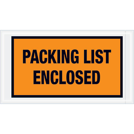 "Tape Logic® Preprinted Packing List Envelopes, Packing List Enclosed, 5 1/2"" x 10"", Orange, Case Of 1,000"