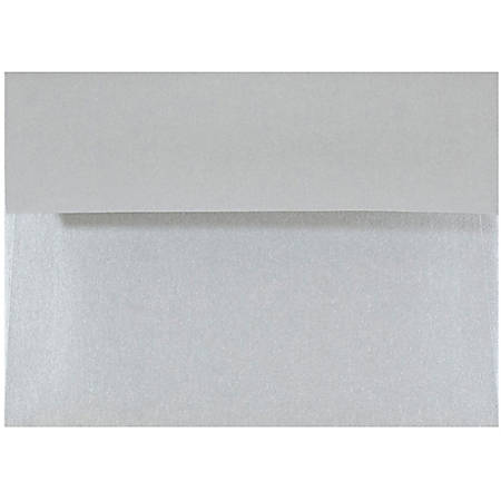 """JAM Paper® Booklet Envelopes With Gummed Closure, 4 Bar A1, 3 5/8"""" x 5 1/8"""", Stardream Silver Metallic, Pack Of 25"""