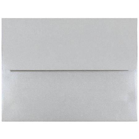 "JAM Paper® Booklet Invitation Envelopes, A2, 4 3/8"" x 5 3/4"", Stardream Metallic Silver, Pack Of 25"