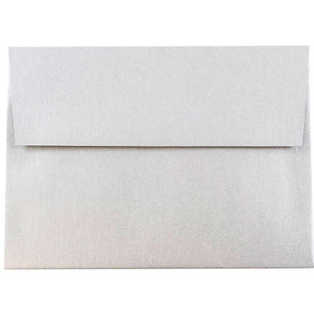 "JAM Paper® Booklet Invitation Envelopes, A6, 4 3/4"" x 6 1/2"", Stardream Metallic Silver, Pack Of 25"