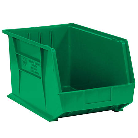 """Office Depot® Brand Plastic Stack And Hang Bin Boxes, 10 3/4"""" x 8 1/4"""" x 7"""", Green, Pack Of 6"""