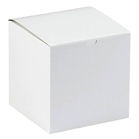 "Office Depot® Brand Gift Boxes, 7""L x 7""W x 7""H, 100% Recycled, White, Case Of 100"