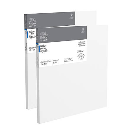 """Winsor & Newton Professional Cotton-Stretched Traditional Canvases, 18"""" x 18"""", White, Pack Of 2"""