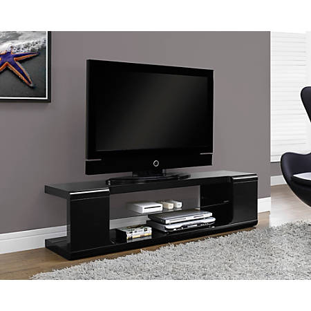 "Monarch Specialties Glossy TV Stand For TVs Up To 60"", Black"