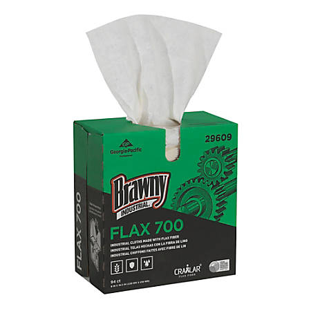"""Brawny Industrial® FLAX 700 Heavy-Duty 1-Ply Wipers, 9"""" x 16 1/2"""", White, Case Of 10 Boxes"""