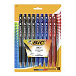 BIC BU3 Grip RT Ball Pens, Medium Point, 1.0 mm, Clear Barrel, Assorted Ink Colors, Pack Of 18 Pens