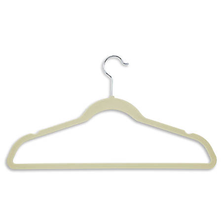 "Honey-Can-Do Velvet-Touch Suit Hangers, 9 1/2""H x 1/4""W x 17 3/4""D, Ivory, Pack Of 50"