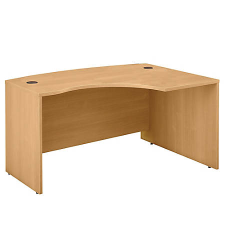 "Bush Business Furniture Components L Bow Desk Right Handed, 60""W x 43""D, Light Oak, Standard Delivery"