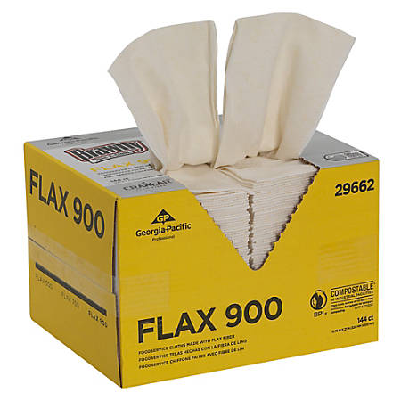 "Brawny Industrial® Dine-A-Cloth® FLAX 900 Heavy-Duty 1/4-Fold Foodservice Cloths, Unscented, 12 3/4"" x 21"" , White, 1 Box Of 144 Cloths"