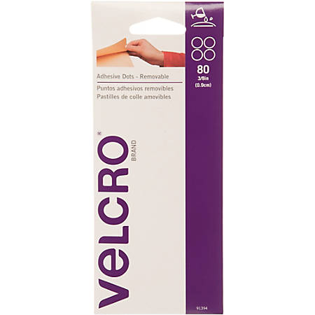 VELCRO® Brand VELCRO Brand Removable Adhesive Dots - Adhesive Backing - Acid-free, Removable - 80 / Pack - White
