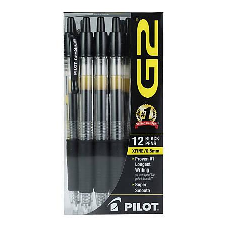 Pilot® G2 Gel Roller Pens, Extra-Fine Point, 0.5 mm, Clear Barrel, Black Ink, Pack Of 12