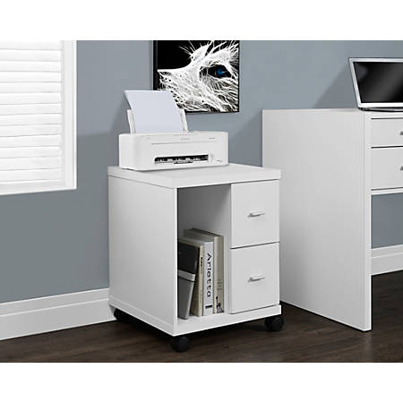 Monarch Specialties Mobile Office Cabinet, White