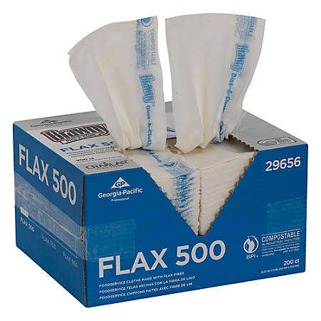 """Brawny® Dine-A-Cloth FLAX 500 Light-Duty 1-Ply 1/4-Fold Front-Of-House Food Service Wipers, 12 3/8"""" x 21"""", Blue/White, Box Of 200"""