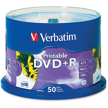 Verbatim® 95136 Inkjet Printable DVD+R Disc Spindle, White, Pack Of 50