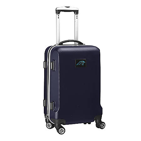 """Denco 2-In-1 Hard Case Rolling Carry-On Luggage, 21""""H x 13""""W x 9""""D, Carolina Panthers, Navy"""