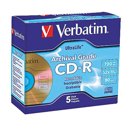 Verbatim® UltraLife™ Gold CD-R Discs, Pack Of 5