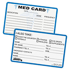 Tabbies Medical Information Cards 6 78