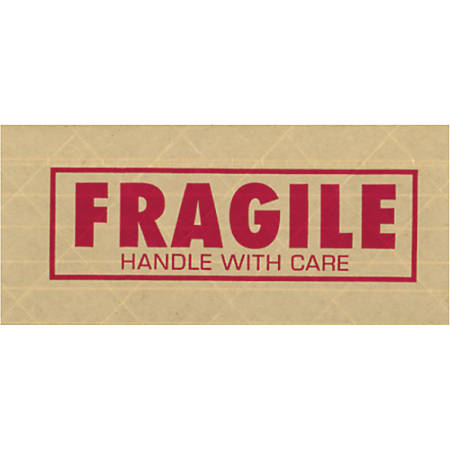 "Tape Logic® Preprinted Reinforced Water-Activated Tape, Fragile, 3"" Core, 3"" x 150 Yd., Kraft, Case Of 10"