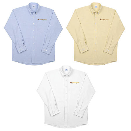 Men's Long Sleeve Oxford Shirt, Cotton/Polyester Blend