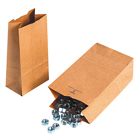 "Partners Brand Hardware Bags, 7 7/8""H x 4 5/16""W x 2 7/16""D, Kraft, Case Of 500"