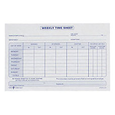 TOPS Weekly Timesheet Form 55 x