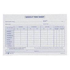 TOPS Weekly Timesheet Form 55 x