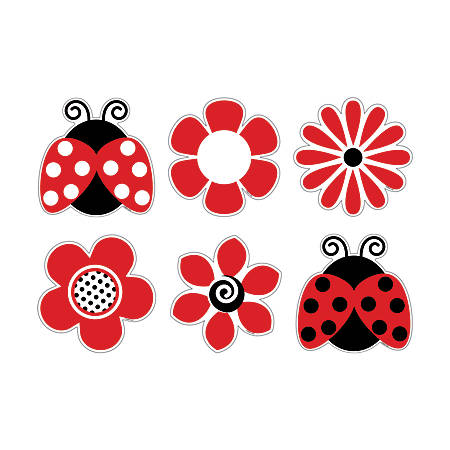 Barker Creek® Accents, Ladybugs Posies, Pack Of 36