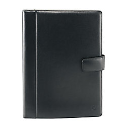 """FranklinCovey® Executive Series Collection Leather Padfolio With Writing Pad, 10 1/10"""" x 12 3/5"""" x 1"""", Black"""