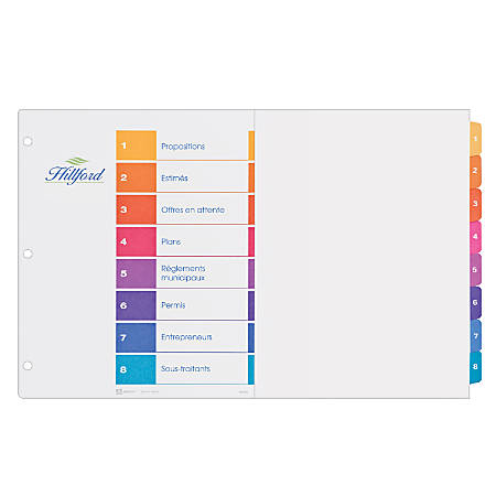 Avery Ready Index Table Of Contents Dividers 11 X 17 Multicolor 8