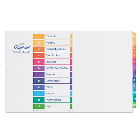 "Avery® Ready Index® Table Of Contents Dividers, 11"" x 17"", 30% Recycled, Multicolor, 12-Tab"