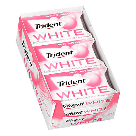 Trident® White Minty Bubble Sugar-Free Gum, 16 Pieces Per Pack, Box Of 9 Packs