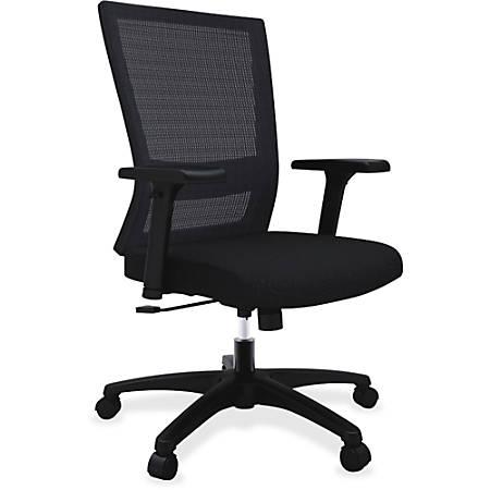 Lorell® Comfort Mesh Mid-Back Fabric Seat Chair, Swivel Tilt, Black
